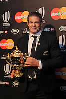 Richie McCaw, New Zealand captain, with the Webb Ellis trophy at the World Rugby Awards 2015  - 01/11/2015 - Battersea Evolution, London<br />Mandatory Credit: Rob Munro/Stewart Communications