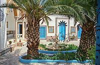 Tunisia, Sidi Bou Said.  Courtyard of a Traditional Home.