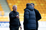 St Johnstone v Livingston….04.05.19      McDiarmid Park        SPFL<br />Gary Holt and Tommy Wright shakes hands at full time<br />Picture by Graeme Hart. <br />Copyright Perthshire Picture Agency<br />Tel: 01738 623350  Mobile: 07990 594431