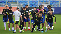 Charlie Webster and Lewis Kieran Hall of Chelsea U19's sprint upfield in the pre-match warm up during Chelsea Under-19 vs FC Zenit Under-19, UEFA Youth League Football at Cobham Training Ground on 14th September 2021