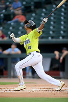 Third baseman Mark Vientos (13) of the Columbia Fireflies bats in a game against the Hickory Crawdads on Tuesday, August 27, 2019, at Segra Park in Columbia, South Carolina. Columbia won, 3-2. (Tom Priddy/Four Seam Images)