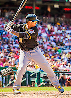 25 July 2013: Pittsburgh Pirates outfielder Jose Tabata in action against the Washington Nationals at Nationals Park in Washington, DC. The Nationals salvaged the last game of their series, winning 9-7 ending their 6-game losing streak. Mandatory Credit: Ed Wolfstein Photo *** RAW (NEF) Image File Available ***