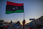 MISRATA, LIBYA — <br /> <br /> Protesters gather on Tripoli street (one of the main avenues in Misrata that saw some of the worst battles of 2011), to voice their discontent on what they perceive is General Haftar's alliance with Egypt's Sisi government.