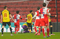 Andre Gray of Watford (18) scores his second goal during the Sky Bet Championship behind closed doors match between Watford and Wycombe Wanderers at Vicarage Road, Watford, England on 3 March 2021. Photo by David Horn.