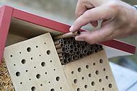 """Wildbienen-Nisthilfe Modell """"Blockhütte"""". Die freigebliebenen Fächer werden mit Natur-Strohhalmen und Papprörchen gefüllt. Besteht aus Hartholzblöcken mit unterschiedlichen Bohrungen, Schilfstängeln, Natur-Strohhalmen und Pappröhrchen, Wildbienen-Nisthilfen, Wildbienen-Nisthilfe selbermachen, selber machen, Wildbienenhotel, Insektenhotel, Wildbienen-Hotel, Insekten-Hotel"""