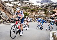 Vincenzo Nibali (ITA/Trek-Segafredo) struggling up the Passo San Bernardino (2065m/SUI)<br /> <br /> 104th Giro d'Italia 2021 (2.UWT)<br /> Stage 20 (through Switzerland) from Verbania to Valle Spluga-Alpe Motta (164km)<br /> <br /> ©kramon
