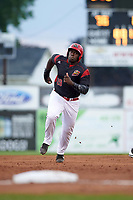 Batavia Muckdogs designated hitter Lazaro Alonso (19) running the bases during a game against the Tri-City ValleyCats on July 14, 2017 at Dwyer Stadium in Batavia, New York.  Batavia defeated Tri-City 8-4.  (Mike Janes/Four Seam Images)