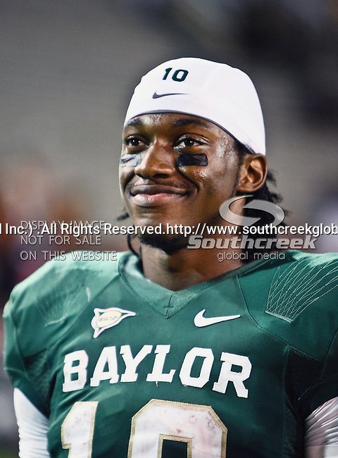Baylor Bears quarterback Robert Griffin III (10) in action during the game between the Iowa State Cyclones and the Baylor Bears at the Floyd Casey Stadium in Waco, Texas. Baylor defeats Iowa State 49 to 26.