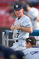 Georgia Tech Yellow Jackets head coach Danny Hall gives a sign from the visitors dugout at Wake Forest Baseball Park April 18, 2009 in Winston-Salem, NC. (Photo by Brian Westerholt / Four Seam Images)