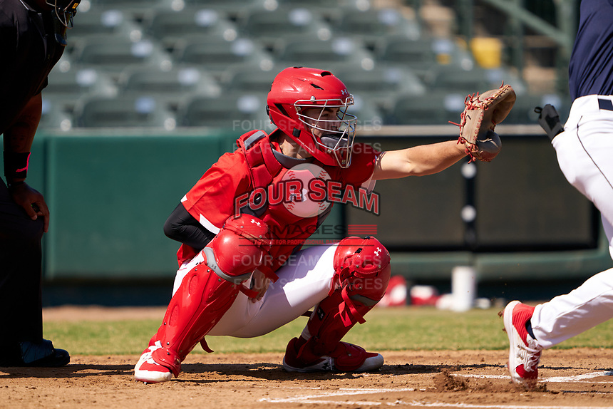Catcher Jacob Cozart (38) during the Baseball Factory All-Star Classic at Dr. Pepper Ballpark on October 4, 2020 in Frisco, Texas.  Jacob Cozart (38), a resident of High Point, North Carolina, attends Wesleyan Christian High School.  (Ken Murphy/Four Seam Images)