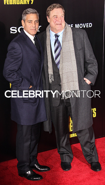 """NEW YORK, NY - FEBRUARY 04: George Clooney, John Goodman at the New York Premiere Of Columbia Pictures' """"The Monuments Men"""" held at Ziegfeld Theater on February 4, 2014 in New York City, New York. (Photo by Jeffery Duran/Celebrity Monitor)"""