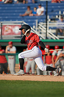 Batavia Muckdogs Samuel Castro (15) bats during a NY-Penn League game against the Auburn Doubledays on June 19, 2019 at Dwyer Stadium in Batavia, New York.  Auburn defeated Batavia 5-0 in the second game of a doubleheader.  (Mike Janes/Four Seam Images)