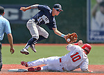 Liberty's Dan Skelly steals safely under the tag of Centennial's Tanner Wright in the NIAA Division I state baseball championship game, in Reno, Nev., on Saturday, May 24, 2014. Liberty defeated Centennial 5-3 to win the title. (Las Vegas Review-Journal, Cathleen Allison)