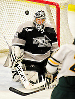 5 February 2011: Providence College Friar goaltender Justin Gates, a Junior from Cranston, R.I., in action against the University of Vermont Catamounts at Gutterson Fieldhouse in Burlington, Vermont. The Catamounts defeated the Friars 7-1 in the second game of their weekend series. Mandatory Credit: Ed Wolfstein Photo