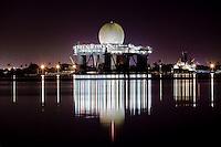 Sea-based X-band Radar at night in Pearl Harbor, O'ahu
