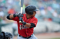 Christopher Bostick (7) of the Indianapolis Indians at bat against the Charlotte Knights at BB&T BallPark on August 22, 2018 in Charlotte, North Carolina.  The Indians defeated the Knights 6-4 in 11 innings.  (Brian Westerholt/Four Seam Images)