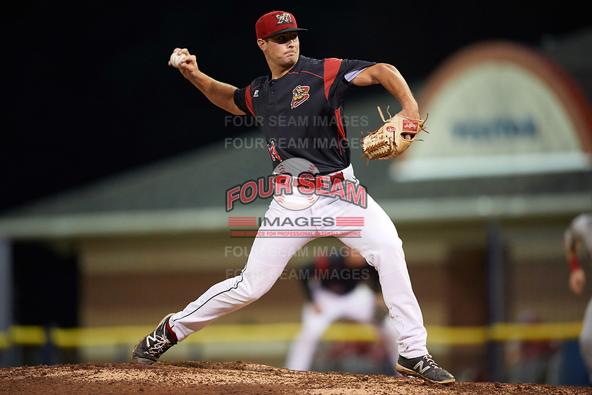 Batavia Muckdogs starting pitcher Sam Perez (44) delivers a pitch during a game against the Auburn Doubledays on September 6, 2017 at Dwyer Stadium in Batavia, New York.  Auburn defeated Batavia 6-3.  (Mike Janes/Four Seam Images)
