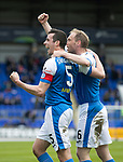 St Johnstone v Partick Thistle…28.04.18…  McDiarmid Park    SPFL<br />Joe Shaugnessy celebrates his goal with Steven Anderson<br />Picture by Graeme Hart. <br />Copyright Perthshire Picture Agency<br />Tel: 01738 623350  Mobile: 07990 594431