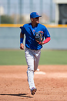 Chicago Cubs shortstop Luis Vazquez (1) during a Minor League Spring Training game against the Colorado Rockies at Sloan Park on March 27, 2018 in Mesa, Arizona. (Zachary Lucy/Four Seam Images)