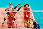 Ni Yan (L) and Ting Zhu of China (C) blocks Sol Piccolo of Argentina (R) during the FIVB Volleyball Nations League Hong Kong match between China and Argentina on May 29, 2018 in Hong Kong, Hong Kong. Photo by Marcio Rodrigo Machado / Power Sport Images