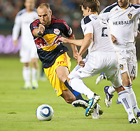 CARSON, CA - November 3, 2011: NY Red Bulls midfielder Joel Lindpere (20)  during the match between LA Galaxy and NY Red Bulls at the Home Depot Center in Carson, California. Final score LA Galaxy 2, NY Red Bulls 1.