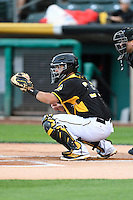 Juan Graterol (34) of the Salt Lake Bees during the game against the Tacoma Rainiers in Pacific Coast League action at Smith's Ballpark on June 13, 2016 in Salt Lake City, Utah. The Rainiers defeated the Bees 3-1.  (Stephen Smith/Four Seam Images)