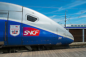 SNCF TGV high speed train, Avignon station, France.