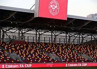 General view of Brentford FC showing the Emirates FA Cup on the boards surrounding the ground during Brentford vs Middlesbrough, Emirates FA Cup Football at the Brentford Community Stadium on 9th January 2021