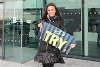20130310 Copyright onEdition 2013©.Free for editorial use image, please credit: onEdition..LV= Promo staff hand out try signs to fans before the LV= Cup semi final match between Sale Sharks and Saracens at the Salford City Stadium on Sunday 10th March 2013 (Photo by Rob Munro)..For press contacts contact: Sam Feasey at brandRapport on M: +44 (0)7717 757114 E: SFeasey@brand-rapport.com..If you require a higher resolution image or you have any other onEdition photographic enquiries, please contact onEdition on 0845 900 2 900 or email info@onEdition.com.This image is copyright onEdition 2013©..This image has been supplied by onEdition and must be credited onEdition. The author is asserting his full Moral rights in relation to the publication of this image. Rights for onward transmission of any image or file is not granted or implied. Changing or deleting Copyright information is illegal as specified in the Copyright, Design and Patents Act 1988. If you are in any way unsure of your right to publish this image please contact onEdition on 0845 900 2 900 or email info@onEdition.com