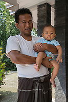 Borobudur, Java, Indonesia.  Father and his Young Daughter.