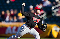 Josh Hoguet (42) of the Southern Illinois University- Edwardsville Cougars delivers a pitch during a game against the Missouri State Bears at Hammons Field on March 10, 2012 in Springfield, Missouri. (David Welker / Four Seam Images)
