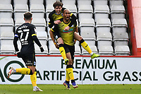 Calvin Andrew of Barrow AFC scores the equliser and celebrates during Stevenage vs Barrow, Sky Bet EFL League 2 Football at the Lamex Stadium on 27th March 2021