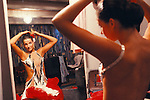 Ballroom dancing competition Winter Gardens Blackpool Tower. Come Dancing TV programe being made. Lancashire. 1980s UK, Back stage getting ready.