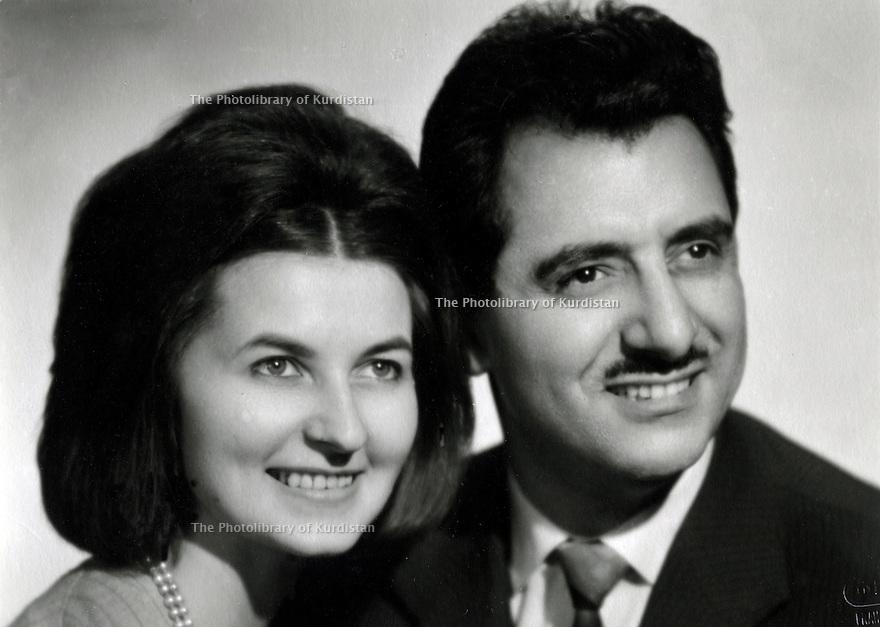 Czechoslovakia 1963. Abdul Rahman and Helene Ghassemlou<br /> Tchecoslovaquie 1963. Abdul Rahman Ghassemlou et Helene Ghassemlou