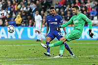 during the Premier League game between Swansea City v Chelsea at the Liberty Stadium, Swansea, Wales, UK. Saturday 28 April 2018
