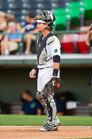 Charlotte Knights catcher Bryan Anderson (33) on defense against the International League at Knights Stadium on July 22, 2012 in Fort Mill, South Carolina.  The Indians defeated the Knights 17-1.  (Brian Westerholt/Four Seam Images)
