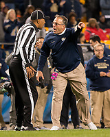 Pitt head coach Pat Narduzzi argues with an official. The Virginia Tech Hokies defeated the Pitt Panthers 39-36 on October 27, 2016 at Heinz Field in Pittsburgh, Pennsylvania.