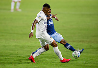 CARSON, CA - OCTOBER 18: Yony Gonzalez #11 of the Los Angeles Galaxy and Cristian Dajome #11 of the Vancouver Whitecaps battle for a ball during a game between Vancouver Whitecaps and Los Angeles Galaxy at Dignity Heath Sports Park on October 18, 2020 in Carson, California.
