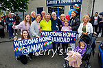 The Moran family welcomes Jimmy Moran home to Strand Road, after he spent three months in the hospital. L to r: Sharon O'Sullivan, Alex Sheridan, Trisha, Sean, Jimmy and Eileen Moran, Lexie Keane, Jade Eager, Audrey and Doireann Moran.