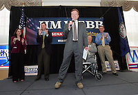 UVa student Katie Cristol, left, U.S. Congressman Criegh Deeds, 2nd from left, former U.S. Senator Max Cleland, 2nd from right, and Virginia Congress hopeful Al Weed, right, watch as Democratic Senate hopeful Jim Webb, middle, speaks to a large crowd of supporters during a rally held Monday October 30, 2006 on campus at the University of Virginia in Charlottesville, Va. Photo/Andrew Shurtleff politics