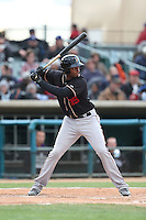 Correll Prime (35) of the Modesto Nuts bats during a game against the Lancaster JetHawks at The Hanger on April 25, 2015 in Lancaster, California. Lancaster defeated Modesto, 5-4. (Larry Goren/Four Seam Images)
