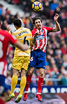 Sime Vrsaljko of Atletico de Madrid battles for the ball with Alex Granell Nogue of Girona FC during the La Liga 2017-18 match between Atletico de Madrid and Girona FC at Wanda Metropolitano on 20 January 2018 in Madrid, Spain. Photo by Diego Gonzalez / Power Sport Images