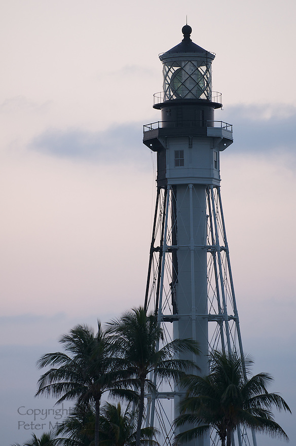 Lighthouse at Hillsboro Inlet, Hillsboro Beach, Florida early on Feb 19, 2011