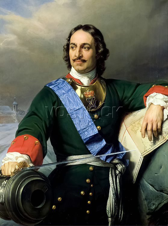 Peter the Great. Portrait of Tsar Peter I of Russia (1672-1725) by Paul Delaroche, 1838.