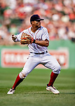 Jun 22, 2019; Boston, MA, USA; Boston Red Sox shortstop Xander Bogaerts makes a play to first in the 8th inning against the Toronto Blue Jays at Fenway Park. Mandatory Credit: Ed Wolfstein-USA TODAY Sports