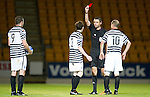 St Johnstone v Queens Park....25.09.12      Scottish Communities League Cup 3rd Round.Andrew Robertson is red carded by ref Kevin Clancy.Picture by Graeme Hart..Copyright Perthshire Picture Agency.Tel: 01738 623350  Mobile: 07990 594431