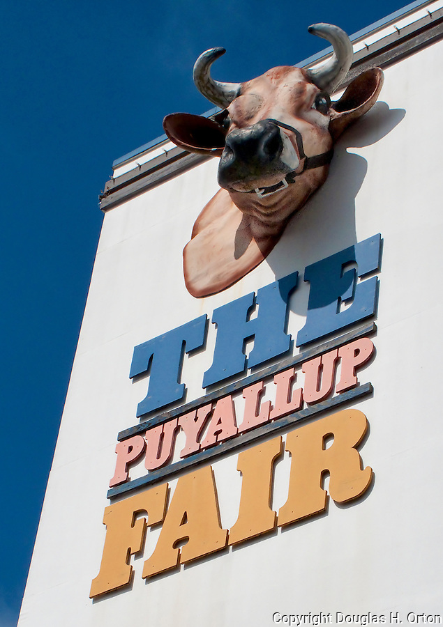 Fair Entrance.  Midway rides bring thrills to fairgoers at The Puyalup Fair.  Western Washington State Fair.