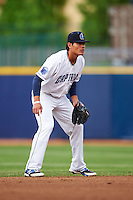 Lake County Captains shortstop Yu-Cheng Chang (13) during a game against the Fort Wayne TinCaps on May 20, 2015 at Classic Park in Eastlake, Ohio.  Lake County defeated Fort Wayne 4-3.  (Mike Janes/Four Seam Images)
