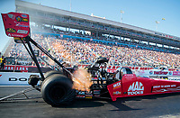 Nov 2, 2019; Las Vegas, NV, USA; NHRA top fuel driver Doug Kalitta during qualifying for the Dodge Nationals at The Strip at Las Vegas Motor Speedway. Mandatory Credit: Mark J. Rebilas-USA TODAY Sports