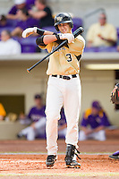Carlos Lopez #3 of the Wake Forest Demon Deacons at bat against the LSU Tigers at Alex Box Stadium on February 20, 2011 in Baton Rouge, Louisiana.  The Tigers defeated the Demon Deacons 9-1.  Photo by Brian Westerholt / Four Seam Images